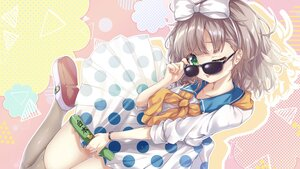 Rating: Safe Score: 35 Tags: amatsuji asuka_hina bow brown_hair dress green_eyes headband nijisanji sunglasses thighhighs wink User: BattlequeenYume