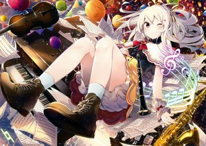 Rating: Safe Score: 132 Tags: animal bird blush boots flute guitar instrument nmaaaaa original paper piano red_eyes scan skirt socks white_hair wink wristwear User: mattiasc02
