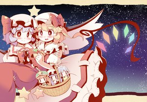 Rating: Safe Score: 43 Tags: blonde_hair blue_hair blush chibi dress flandre_scarlet hat hong_meiling izayoi_sakuya maid night patchouli_knowledge red_eyes remilia_scarlet stars takahero touhou vampire wings User: opai