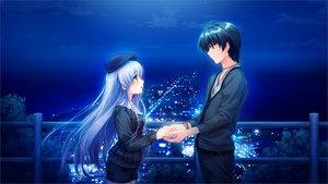 Rating: Safe Score: 98 Tags: akiyama_sou aqua_eyes blue_hair furukawa_yui game_cg kuroya_shinobu misaki_kurehito night trumple ushinawareta_mirai_wo_motomete User: Wiresetc