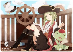 Rating: Safe Score: 111 Tags: book green_eyes green_hair gumi hat pirate skirt sky tama_(songe) vocaloid User: FormX