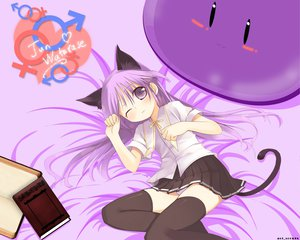 Rating: Questionable Score: 45 Tags: all_male animal_ears book catgirl happiness male panties purple_eyes purple_hair skirt tail thighhighs trap underwear watarase_jun wink User: acucar11
