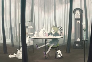 Rating: Safe Score: 99 Tags: animal blonde_hair blue_eyes flowers forest kimura_daisuke original rabbit skirt tree User: korokun