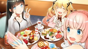 Rating: Safe Score: 27 Tags: aqua_eyes black_hair blonde_hair blue_eyes blush bow cake choker drink e_hariyama food fruit lolita_fashion long_hair phone pink_hair reflection strawberry twintails waifu2x User: otaku_emmy