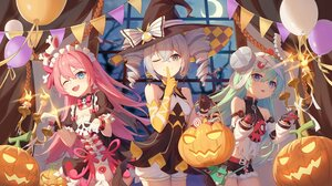Rating: Safe Score: 67 Tags: aqua_hair blue_eyes bronya_zaychik dress elbow_gloves gloves gray_eyes gray_hair halloween hat honkai_impact latiosss liliya_olenyeva long_hair maid night pink_hair pumpkin rozaliya_olenyeva twintails witch User: Nepcoheart