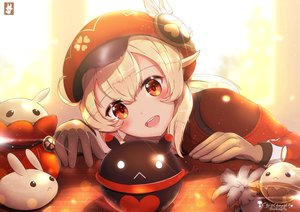 Rating: Safe Score: 58 Tags: blonde_hair blush chinchongcha close genshin_impact gloves hat klee_(genshin_impact) pointed_ears red_eyes signed watermark User: otaku_emmy