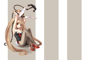 Rating: Safe Score: 81 Tags: anthropomorphism blonde_hair blush bow breasts brown_eyes bunny_ears bunnygirl chain cleavage collar headband kantai_collection katahira_masashi murasame_(kancolle) pantyhose ribbons tail twintails wristwear User: kokiriloz