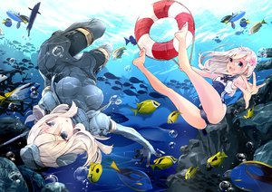 Rating: Questionable Score: 108 Tags: 218 2girls animal breasts bubbles cameltoe fish kantai_collection ro-500_(kancolle) school_swimsuit swim_ring swimsuit u-511_(kancolle) underwater water User: Flandre93
