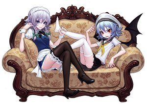 Rating: Safe Score: 42 Tags: 2girls ass blue_eyes blue_hair braids couch fkey gray_hair hat headdress izayoi_sakuya maid panties red_eyes remilia_scarlet seifuku short_hair skirt thighhighs touhou underwear vampire wings User: FormX