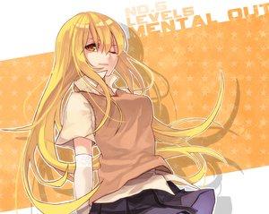 Rating: Safe Score: 77 Tags: blonde_hair elbow_gloves gloves long_hair orange_eyes school_uniform shokuhou_misaki skirt soul4444 to_aru_kagaku_no_railgun to_aru_majutsu_no_index wink User: FormX