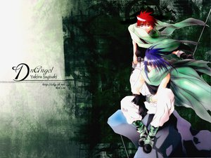 Rating: Safe Score: 6 Tags: all_male cape dark_mousy dnangel gloves green jpeg_artifacts male niwa_daisuke purple_hair red_eyes red_hair staff sugisaki_yukiru User: Oyashiro-sama