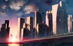 Rating: Safe Score: 101 Tags: building city scenic sunset tagme yumeno_mikan User: HawthorneKitty