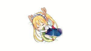 Rating: Safe Score: 65 Tags: blonde_hair blush chibi dress gloves headband horns kobayashi-san_chi_no_maid_dragon long_hair maid signed sleeping tail tiny_(tini3030) tooru_(maidragon) twintails white User: Hakha