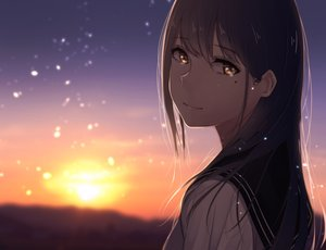 Rating: Safe Score: 181 Tags: brown_eyes brown_hair close long_hair original saitou_(lynx-shrike) seifuku sunset User: Flandre93