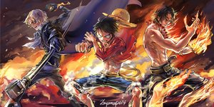 Rating: Safe Score: 103 Tags: all_male black_hair blonde_hair cape fire hat male monkey_d_luffy one_piece portgas_d_ace sabo signed weapon zzyzzyy User: FormX