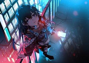 Rating: Safe Score: 38 Tags: black_hair blue_eyes building city kamitsubaki_studio koko_(vtuber) long_hair night phone polychromatic rooftop shiomi_(lowrise) User: Dreista