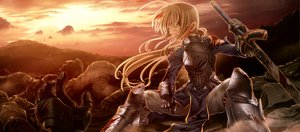 Rating: Safe Score: 42 Tags: blonde_hair fate/stay_night jpeg_artifacts saber weapon User: HawthorneKitty