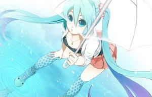 Rating: Safe Score: 91 Tags: aqua_eyes aqua_hair boots hatsune_miku long_hair rkp twintails umbrella vocaloid water User: opai