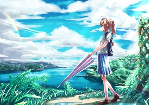Rating: Safe Score: 128 Tags: brown_eyes brown_hair clouds grass landscape long_hair nian original ponytail rainbow scenic skirt sky socks umbrella water User: Flandre93