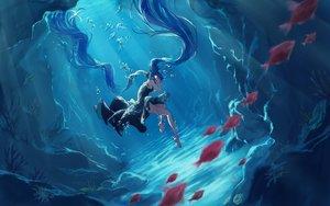 Rating: Safe Score: 52 Tags: akizakura_mns animal blue_hair bubbles deep-sea_girl_(vocaloid) dress fish hatsune_miku long_hair twintails underwater vocaloid water User: mattiasc02