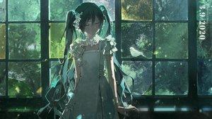 Rating: Safe Score: 79 Tags: animal bird dress green green_hair hatsune_miku long_hair mikka620 twintails vocaloid User: FormX