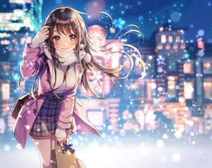 Rating: Safe Score: 100 Tags: blush brown_hair building city long_hair morikura_en original red_eyes scarf skirt snow User: Fepple