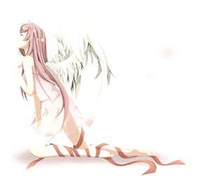 Rating: Safe Score: 95 Tags: barefoot megurine_luka vocaloid white wings User: HawthorneKitty
