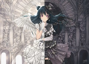 Rating: Safe Score: 87 Tags: black_hair dress feathers goth-loli hat lolita_fashion long_hair love_live!_school_idol_project love_live!_sunshine!! purple_eyes shamakho signed thighhighs tsushima_yoshiko wings User: BattlequeenYume