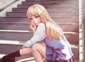 Rating: Safe Score: 140 Tags: blonde_hair long_hair miura_naoko red_eyes sakura-sou_no_pet_na_kanojo seifuku shiina_mashiro skirt socks stairs watermark User: Flandre93