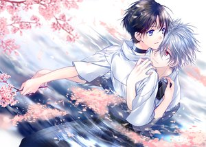 Rating: Safe Score: 23 Tags: blue_eyes brown_hair cherry_blossoms gray_hair ikari_shinji male nagisa_kaworu neon_genesis_evangelion red_eyes ro-a tree water User: STORM