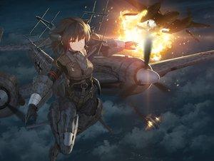 Rating: Safe Score: 70 Tags: aircraft anthropomorphism brown_hair clouds fire mechagirl night orange_eyes original tom-neko_(zamudo_akiyuki) User: sadodere-chan