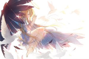 Rating: Safe Score: 35 Tags: angel ass barefoot blonde_hair feathers haraguroi_you long_hair original wings User: RyuZU