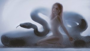 Rating: Questionable Score: 285 Tags: animal brown_eyes brown_hair ghostblade lenia_(ghostblade) long_hair nude realistic snake wlop User: BattlequeenYume