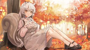 Rating: Safe Score: 71 Tags: animal_ears autumn breast_hold dress forest gray_hair leaves lillly long_hair orange_eyes original tail tree twintails User: BattlequeenYume