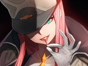 Rating: Safe Score: 151 Tags: candy close cropped darling_in_the_franxx fpanda gloves green_eyes hat lollipop long_hair pink_hair uniform zero_two User: Hakha