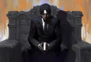 Rating: Safe Score: 113 Tags: black_hair book cloudbox9 hunter_x_hunter kuroro_lucifer male suit tie User: FormX