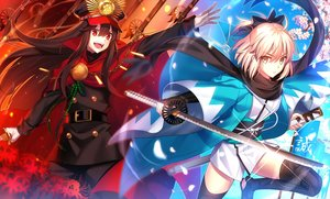 Rating: Safe Score: 54 Tags: 2girls black_hair blonde_hair cape chain cherry_blossoms fate/grand_order fate_(series) fuyuki_(neigedhiver) gloves hat japanese_clothes katana long_hair nobunaga_oda_(fate) petals red_eyes saber sakura_saber scarf short_hair sword thighhighs weapon yellow_eyes User: RyuZU
