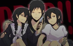Rating: Safe Score: 28 Tags: black_hair braids brown_eyes durarara!! glasses group orihara_izaya orihara_kururi orihara_mairu seifuku short_hair weapon User: Tensa