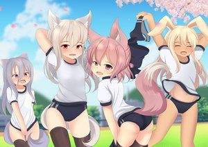Rating: Questionable Score: 42 Tags: animal_ears bloomers blush bunny_ears fang group gym_uniform hotel01 loli original tail thighhighs User: gnarf1975