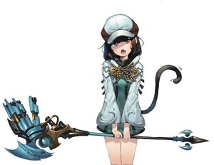 Rating: Safe Score: 69 Tags: black_hair catgirl dress fang final_fantasy final_fantasy_xiv hat miqo'te red_eyes romana short_hair staff tail white User: otaku_emmy