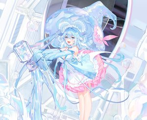 Rating: Safe Score: 55 Tags: aqua_eyes aqua_hair atdan breasts cleavage cropped dress fang haiyi hat ribbons short_hair synthesizer_v water witch_hat User: otaku_emmy