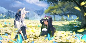 Rating: Safe Score: 51 Tags: 2girls animal animal_ears blue_hair brown_eyes butterfly clouds corset flowers green_eyes landscape long_hair original scenic sky tagme_(artist) tree white_hair User: BattlequeenYume
