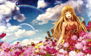 Rating: Safe Score: 25 Tags: blonde_hair clouds dress flowers long_hair moon orange_hair original rainbow siro sky User: Zloan