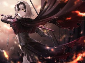 Rating: Safe Score: 58 Tags: armor blonde_hair cape cow-ring fate/grand_order fate_(series) fire headdress jeanne_d'arc_alter jeanne_d'arc_(fate) short_hair sword weapon yellow_eyes User: Dreista