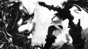 Rating: Safe Score: 57 Tags: black_rock_shooter boots cape gloves insane_black_rock_shooter kuroi_mato monochrome scar sword twintails weapon User: Exilator
