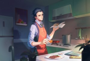 Rating: Safe Score: 3 Tags: all_male apron black_hair blue_eyes book food glasses male naked_cat short_hair tie User: RyuZU