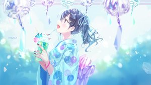 Rating: Safe Score: 47 Tags: black_hair brown_eyes drink idolmaster idolmaster_cinderella_girls idolmaster_cinderella_girls_starlight_stage japanese_clothes long_hair mullpull polychromatic ribbons sunazuka_akira twintails watermark wristwear yukata User: otaku_emmy