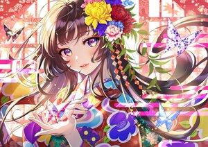 Rating: Safe Score: 54 Tags: brown_hair butterfly close flowers japanese_clothes kimono long_hair morikura_en original paper purple_eyes User: BattlequeenYume