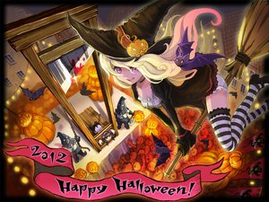 Rating: Safe Score: 86 Tags: animal bat blonde_hair chain halloween hat long_hair pumpkin tagme thighhighs weapon witch User: w7382001