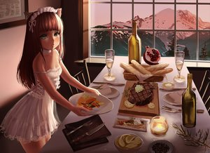 Rating: Questionable Score: 130 Tags: animal_ears brown_hair catgirl choker corset dress drink food fruit green_eyes headdress knife loli lolita_fashion long_hair no_bra original otto scenic sunset User: gnarf1975